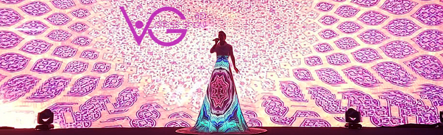 VG show, 3D dress show, 3D dress mapping, 3D mapping show, 3D projection dress, 3D performance, 3D artist, 3D singer, video dress, booking 3D show