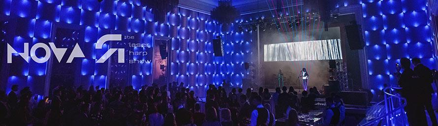 laser harp novaЯ, best laser show, booking laser show, laser girl, laser harp & singer, laser music, original show, laser opera