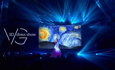 VG show, 3D dress, 3D mapping dress, 3D mapping show, 3D projection dress, 3D projection show, 3D artist, 3D singer, 3D performance, dress screen, video dress, map dress, 3D show