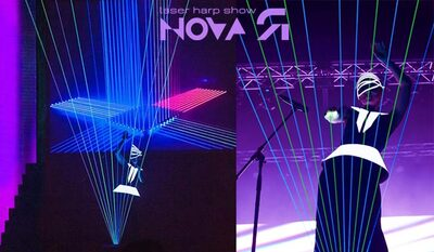 laser harp novaYA, best laser show, booking laser harp show, laser women, DJ laser harp, electro harp, neon harp show, singer laserharp, original show for wedding party, original artist for corporate event